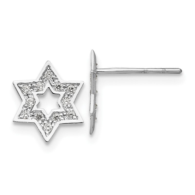 Quality Gold 14k Madi K White Gold CZ Star of David Earrings