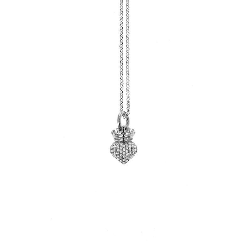 King Baby Small Crowned Heart Pendant With Cz Pave