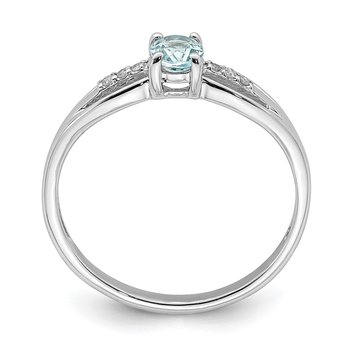 Sterling Silver Rhod-plated Diamond Aquamarine Ring