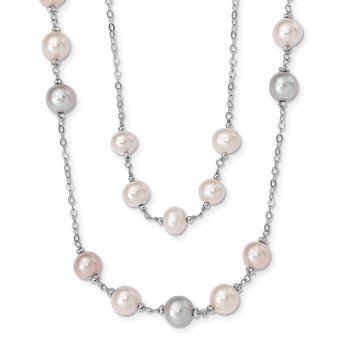 Sterling Silver Rhd-plt 2 row 7-8 and 8-9mm Wht/Pnk/Prpl FWC Pearl Necklace