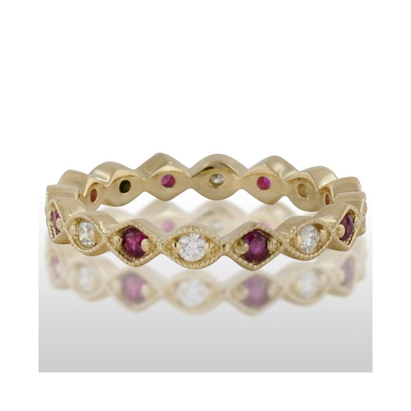 Novell Ladie's Yellow Gold Ruby and Diamond Ring