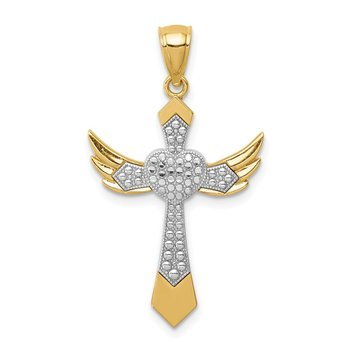 14K White Rhodium Angel Wing Cross Pendant