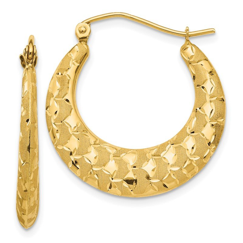Quality Gold 14K Laser Cut Patterned Hoop Earrings