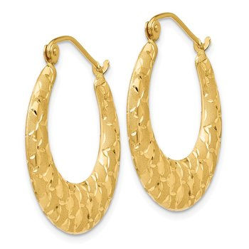 14K Laser Cut Patterned Hoop Earrings