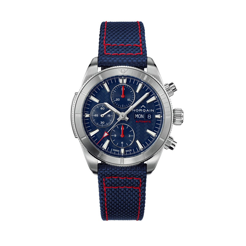 Norqain Adventure Sport Chrono Day/Date 41 Blue Dial Blue Nordura Strap Red Stitching