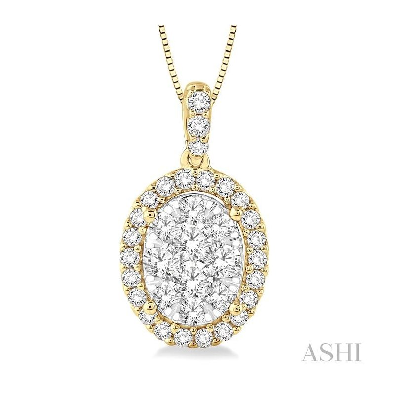 ASHI oval shape lovebright diamond pendant