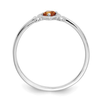 14K White Gold Citrine Birthstone Heart Ring