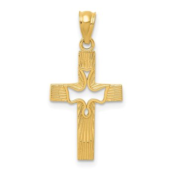 14k Dove Cross Pendant