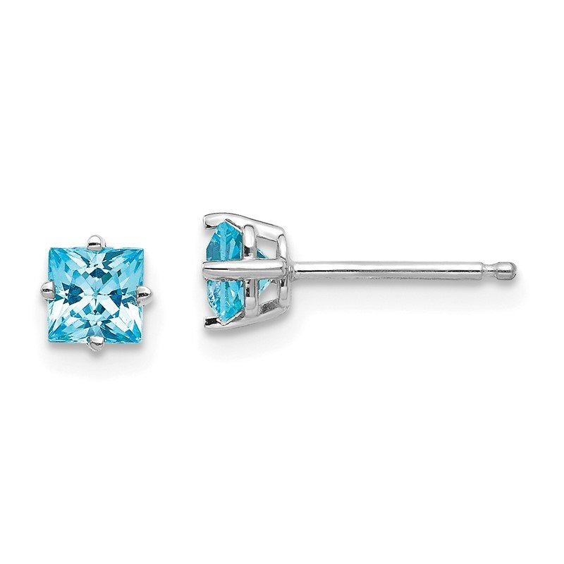 Quality Gold 14k White Gold 4mm Princess Cut Blue Topaz Earrings