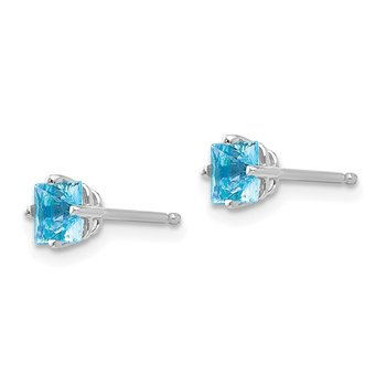 14k White Gold 4mm Princess Cut Blue Topaz Earrings