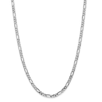 14k WG 4.5mm Flat Figaro Chain