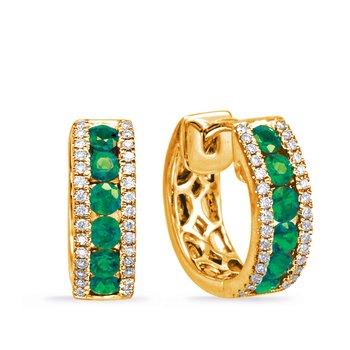 Yellow Gold Emerald & Diamond Huggie