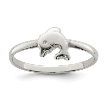 Sterling Silver RH Plated Child's Polished Dolphin Ring