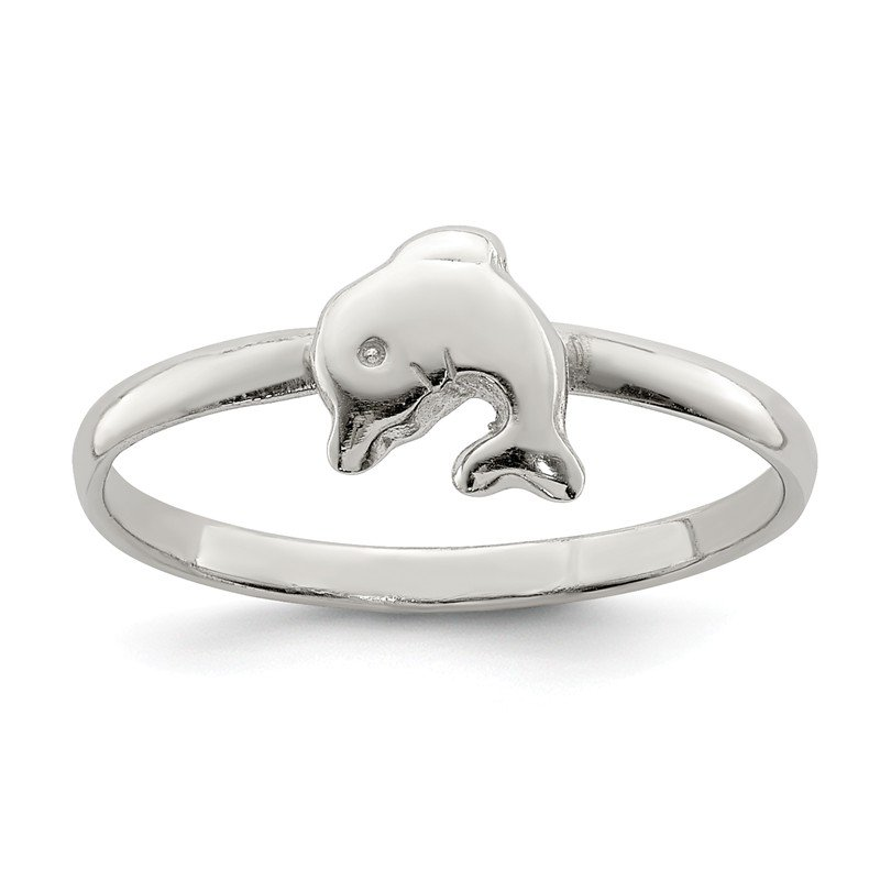 Arizona Diamond Center Collection Sterling Silver RH Plated Child's Polished Dolphin Ring
