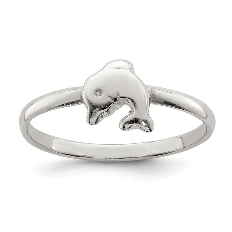 Quality Gold Sterling Silver RH Plated Child's Polished Dolphin Ring