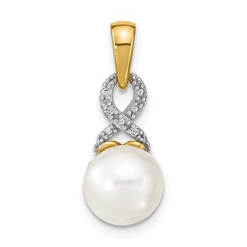 14k 7-8mm Freshwater Cultured Pearl and Diamond Pendant