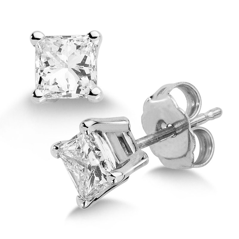 Four Prong Princess cut Diamond Studs in 14k White Gold Screw-back posts (1ct. tw.)