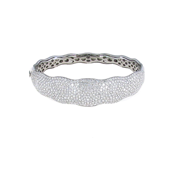 18Kt White Gold Scalloped Diamond Bangle