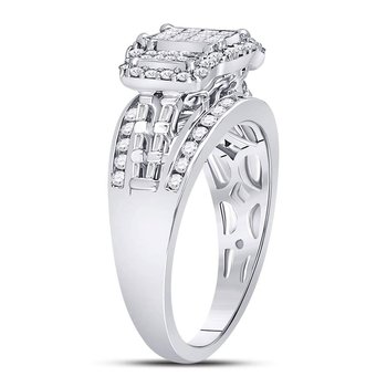 10kt White Gold Womens Princess Diamond Triple Cluster Ring 1.00 Cttw