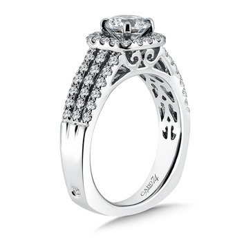 Cushion-Shape Halo Engagement Ring with Side Stones in 14K White Gold with Platinum Head (3/4ct. tw.)