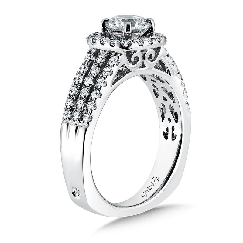 Caro74 Cushion-Shape Halo Engagement Ring with Side Stones in 14K White Gold with Platinum Head (3/4ct. tw.)