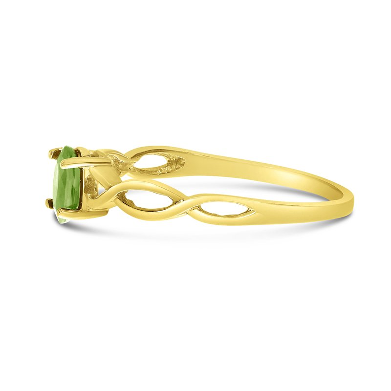 Color Merchants 10k Yellow Gold Oval Peridot Ring