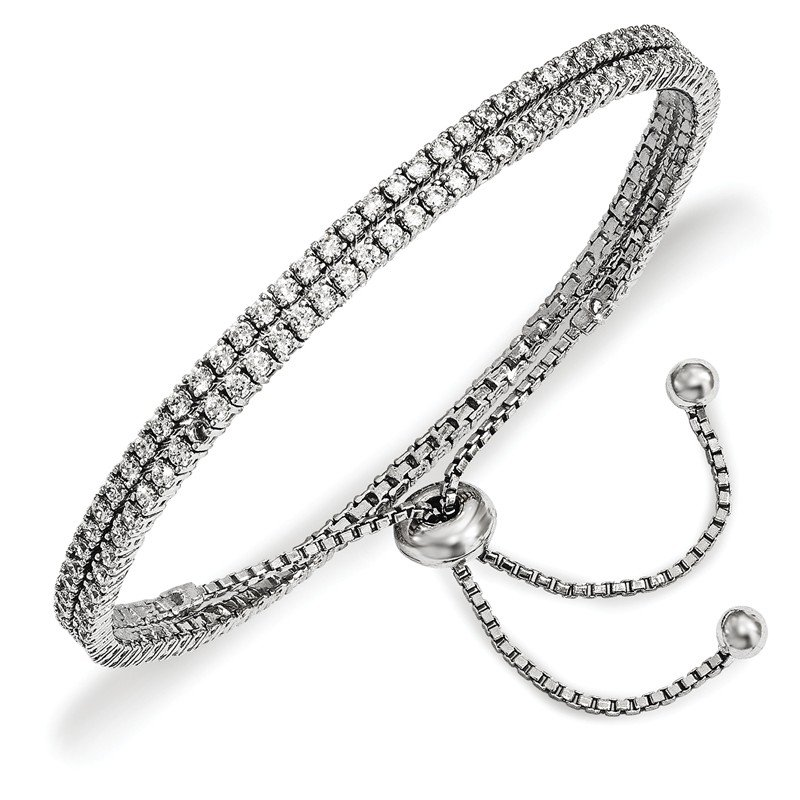 Quality Gold Sterling Silver Rhodium-plated CZ Adjustable Wrap Bracelet
