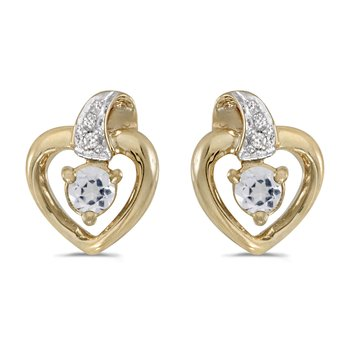 10k Yellow Gold Round White Topaz And Diamond Heart Earrings