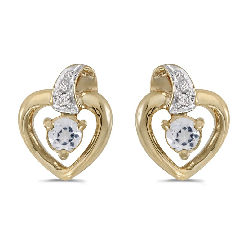 Color Merchants 10k Yellow Gold Round White Topaz And Diamond Heart Earrings