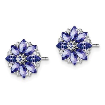 Sterling Silver Rhodium Plated Diamond & Tanzanite Post Earrings