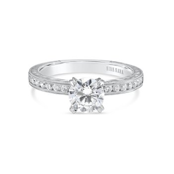 Engraved Round Diamond Engagement Ring
