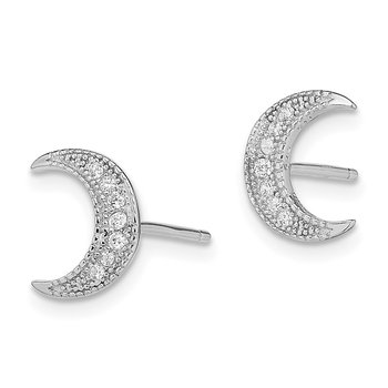 Sterling Silver Rhodium-plated CZ Crescent Moon Post Earrings
