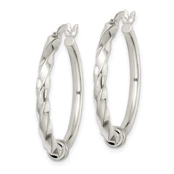 Sterling Silver Polished and Twisted Hoop Earrings