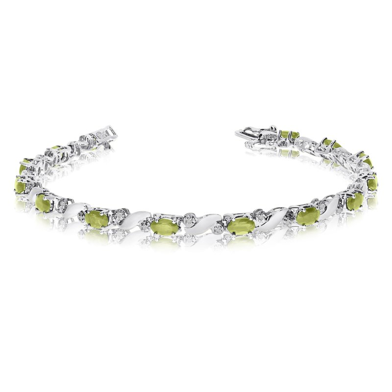 Color Merchants 14k White Gold Natural Peridot And Diamond Tennis Bracelet
