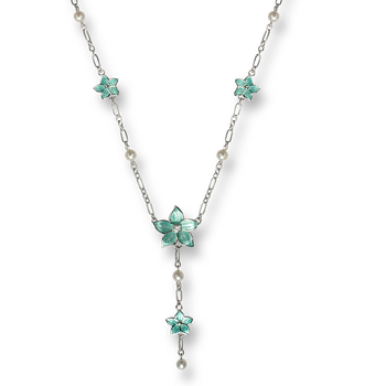 Sterling Silver Stephanotis Floral Necklace-Turquoise. White Topaz.