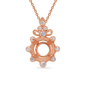 Rose Gold Diamond Pendant for 3/4 ct