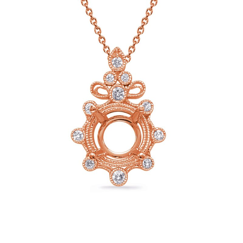 S. Kashi  & Sons Rose Gold Diamond Pendant for 3/4 ct
