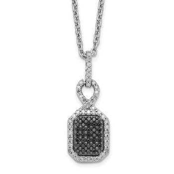 Sterling Silver Rhod Plated Black and White Diamond Rectangle Pendant Neckl