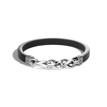 Asli Classic Chain Link Station 7MM Bracelet, Silver, Leather