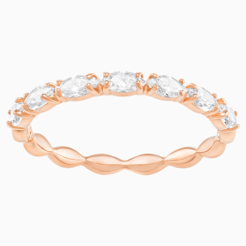 Swarovski Vittore Marquise Ring, White, Rose-gold tone plated