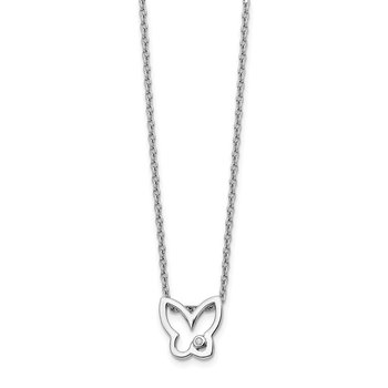 SS White Ice Diamond Butterfly Necklace