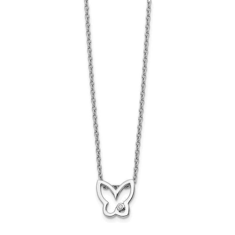 Quality Gold SS White Ice Diamond Butterfly Necklace
