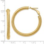 Quality Gold 14k 4x30mm Twisted Round Omega Back Hoop Earrings