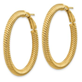 14k 4x30mm Twisted Round Omega Back Hoop Earrings