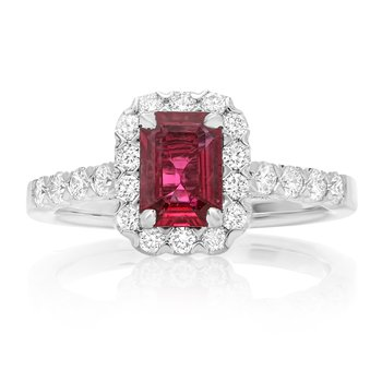 Emerald Cut Ruby & Diamond Ring