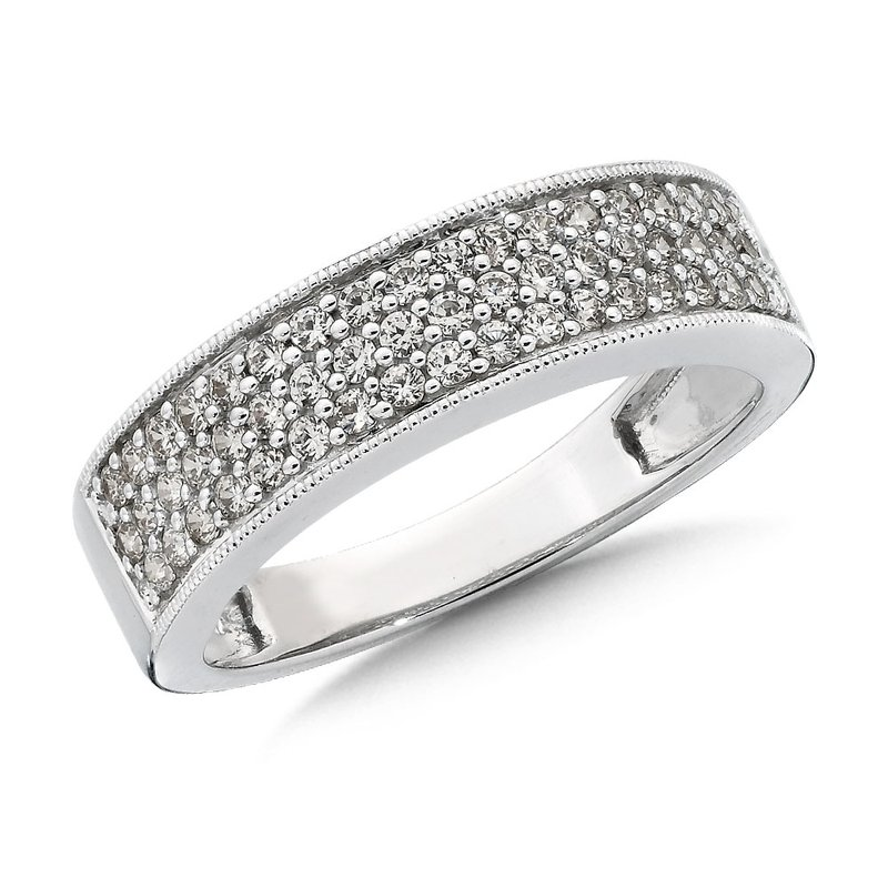 Pave set Diamond Stackable Wedding Ring in 14k White Gold (1/2ct. tw.) GH/SI1-SI2