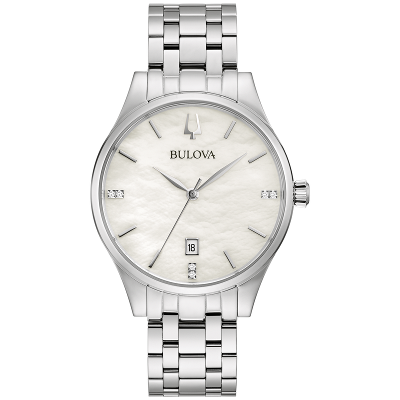 Bulova Ladies' Stainless Steel Bracelet Watch with Diamond Accents