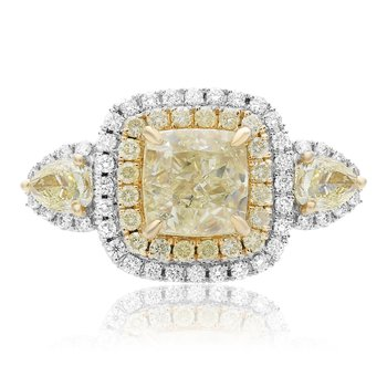 Two Tone Double Halo Diamond Ring