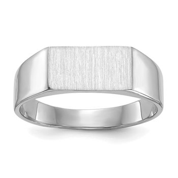 14k White Gold 5.5x10.5mm Closed Back Signet Ring