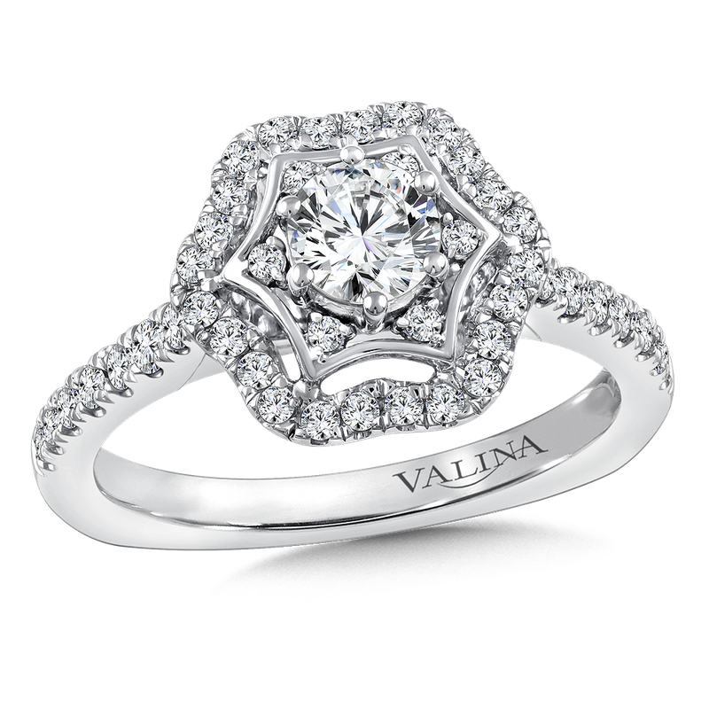Valina Halo Engagement Ring Mounting in 14K White Gold (.37 ct. tw.)